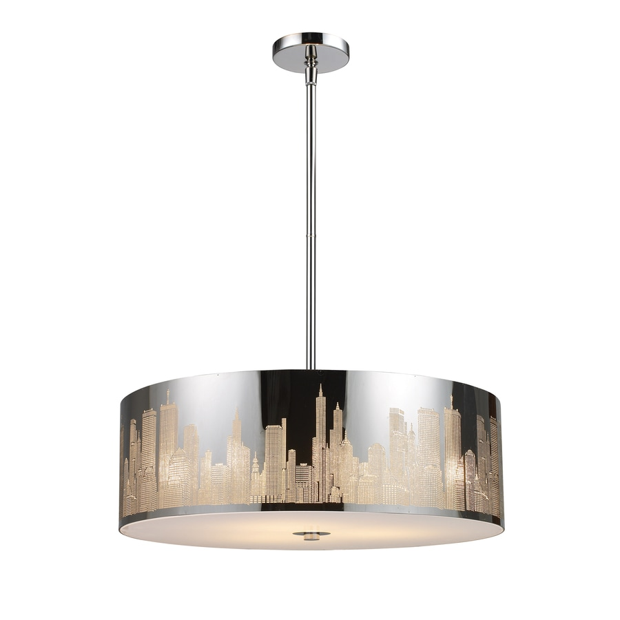 Westmore Lighting Metropolis 24-in Polished Stainless Steel Novelty Mini Tinted Glass Drum Pendant