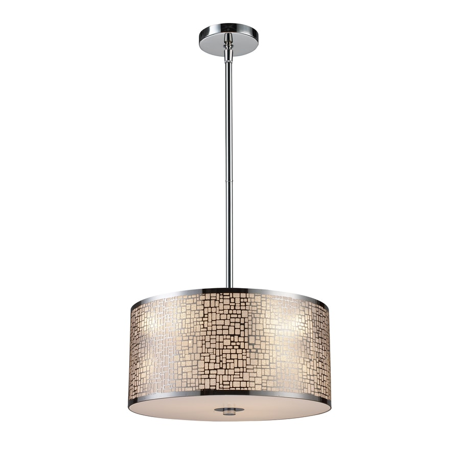 Westmore Lighting Geneva 16-in Polished Stainless Steel Mini Tinted Glass Drum Pendant