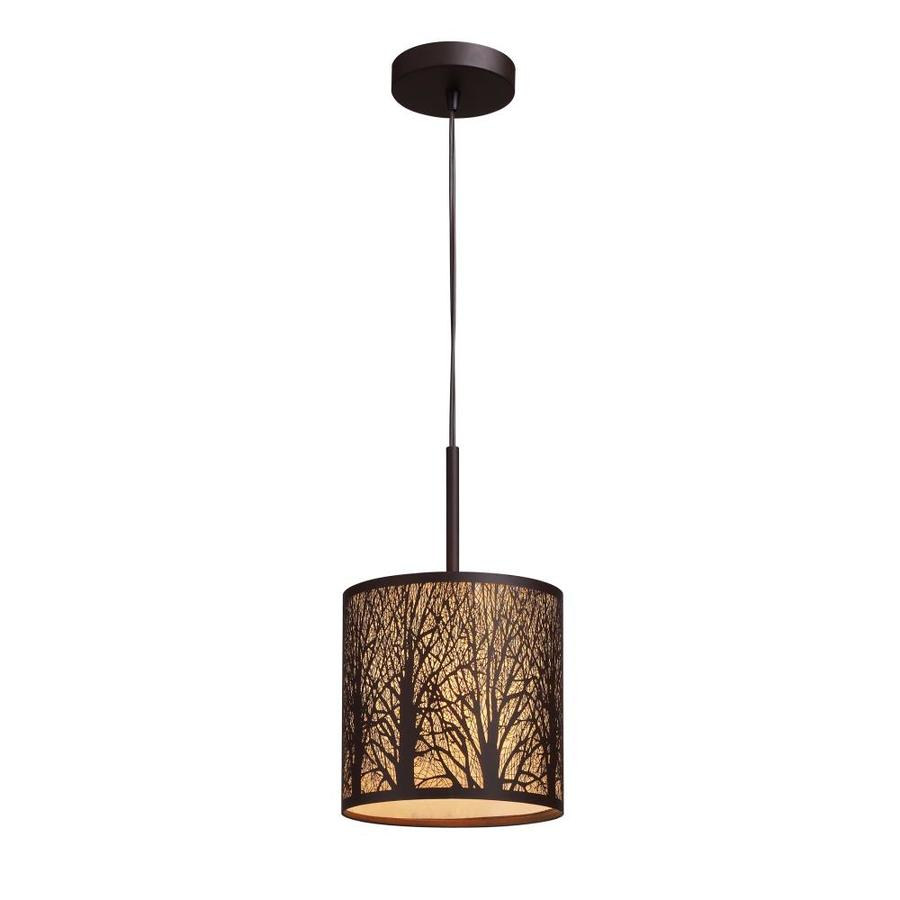 Westmore Lighting 8-in Aged Bronze Rustic Mini Textured Glass Cylinder Pendant