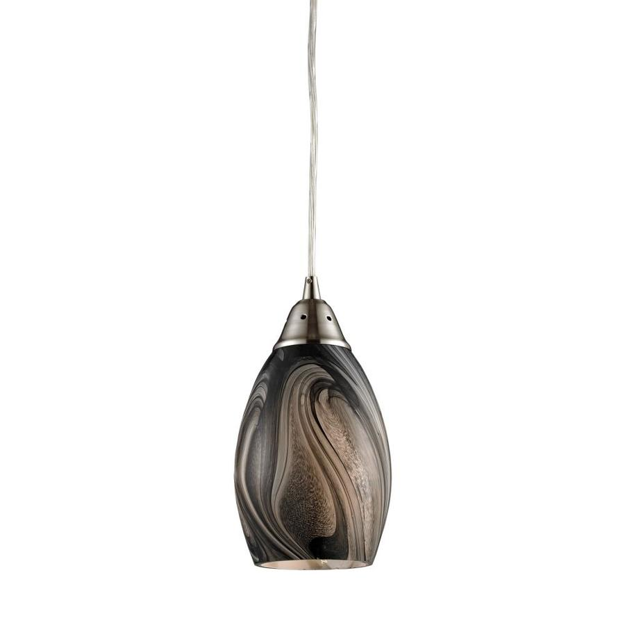 Westmore Lighting 5-in Satin Nickel Mini Tinted Glass Teardrop Pendant