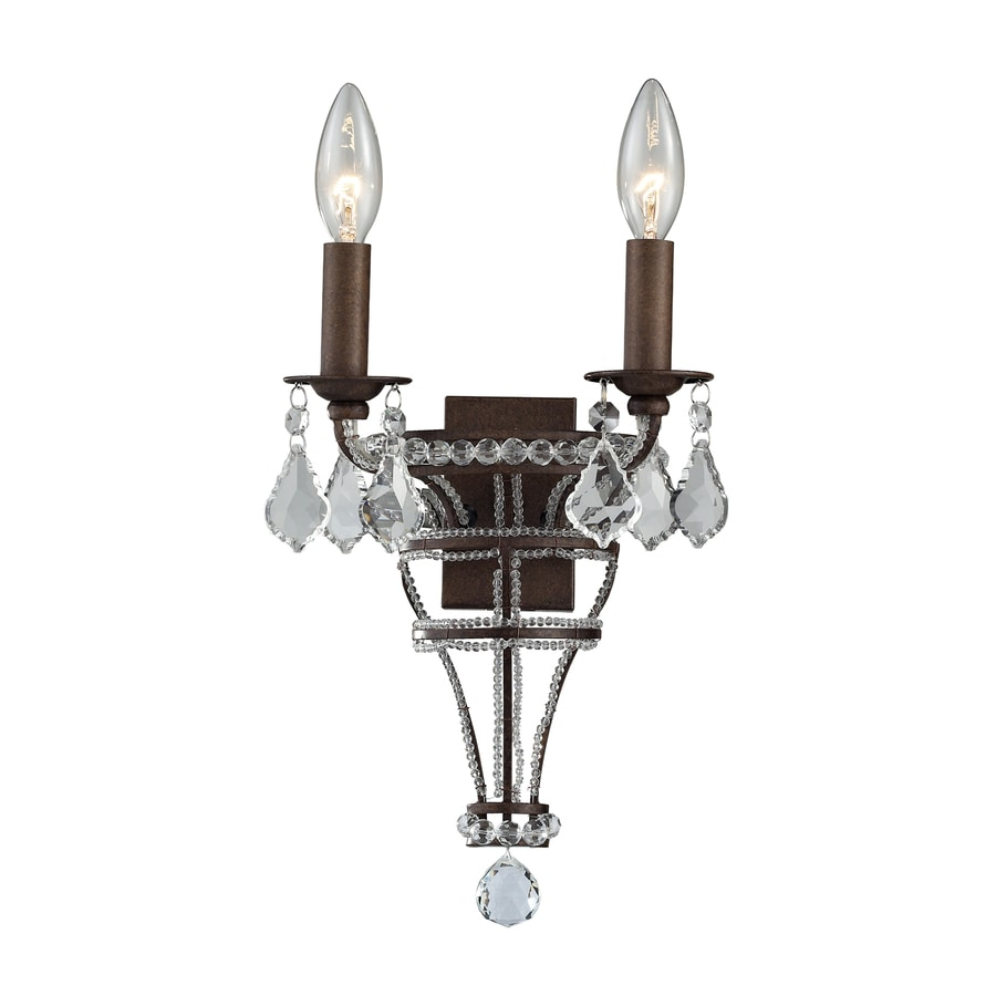 Westmore Lighting 10-in W 1-Light Mocha Crystal Arm Wall Sconce