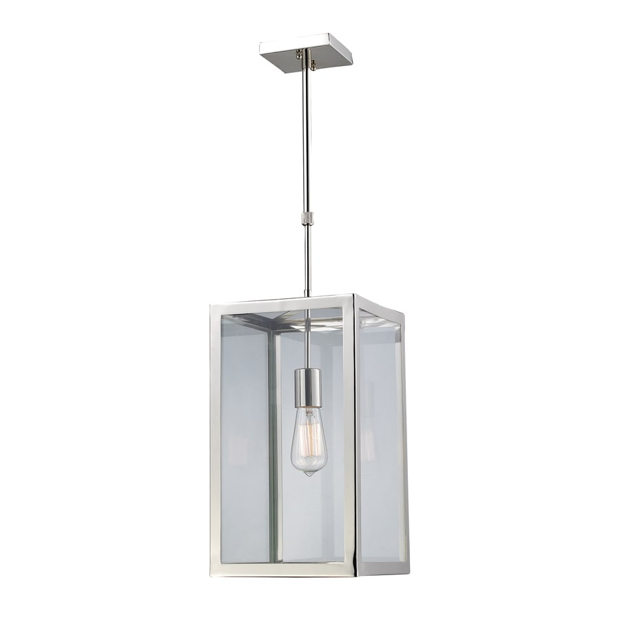 Westmore Lighting Beamsley 10-in Polished Chrome Single Clear Glass Lantern Pendant