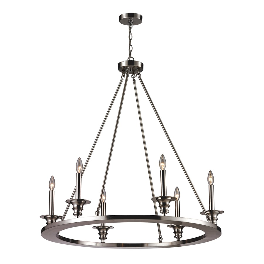 Westmore Lighting Zephyr 36-in 6-Light Satin nickel Candle Chandelier