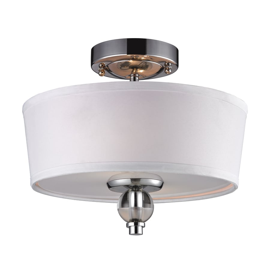 Westmore Lighting Blitz 12-in W Polished Chrome Fabric Semi-Flush Mount Light