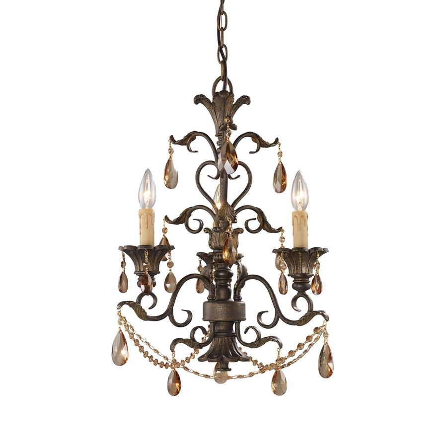 Westmore Lighting Santa Cruz 18-in 3-Light Weathered Mahogany Ironwork Crystal Candle Chandelier