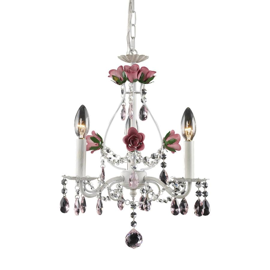 Westmore Lighting Blossoms 15-in 3-Light Antique White Crystal Candle Chandelier