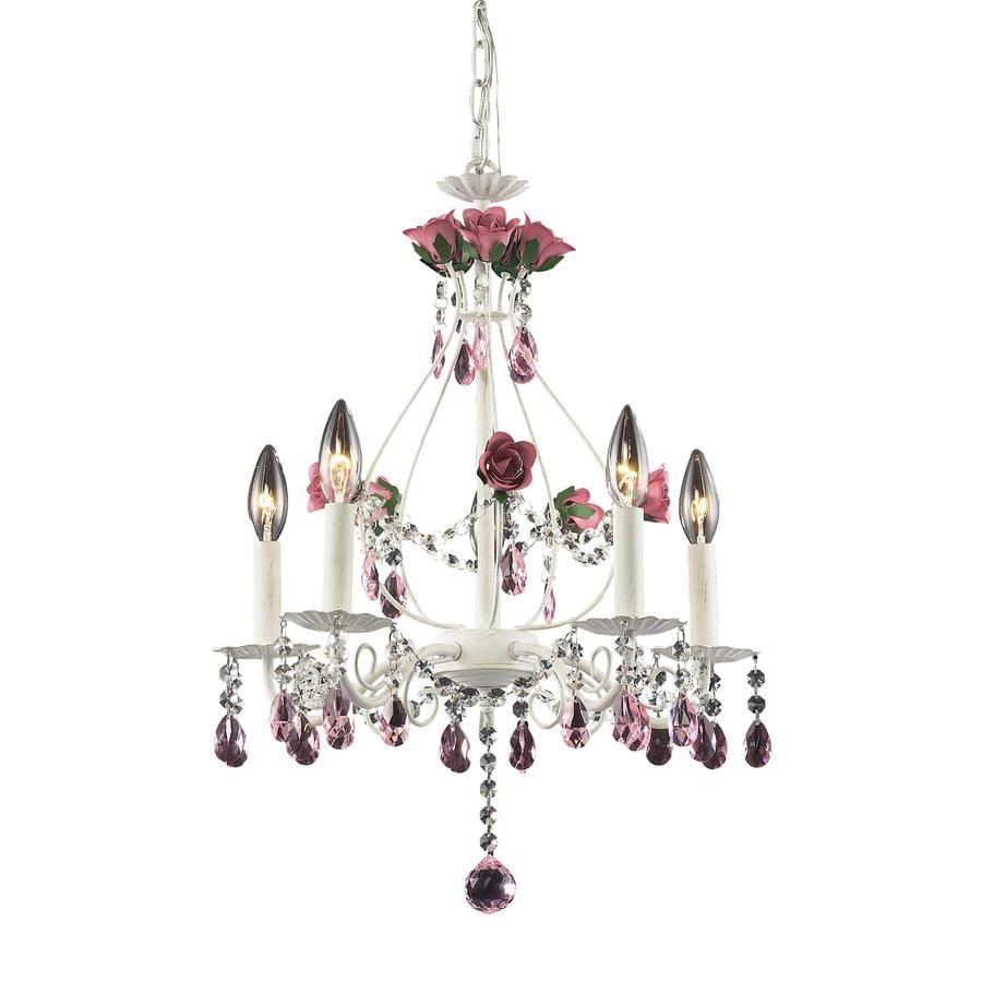 Westmore Lighting Blossoms 18-in 5-Light Antique white Crystal Candle Chandelier