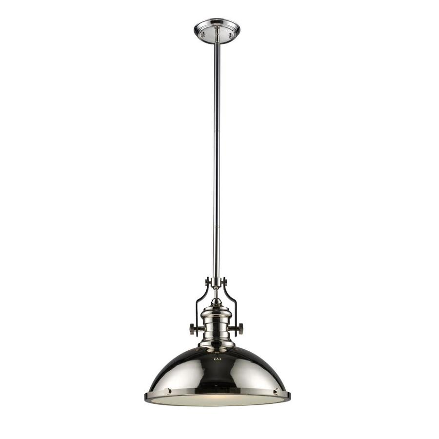 Westmore Lighting Chiserley 17-in Polished Nickel Industrial Single Dome Pendant