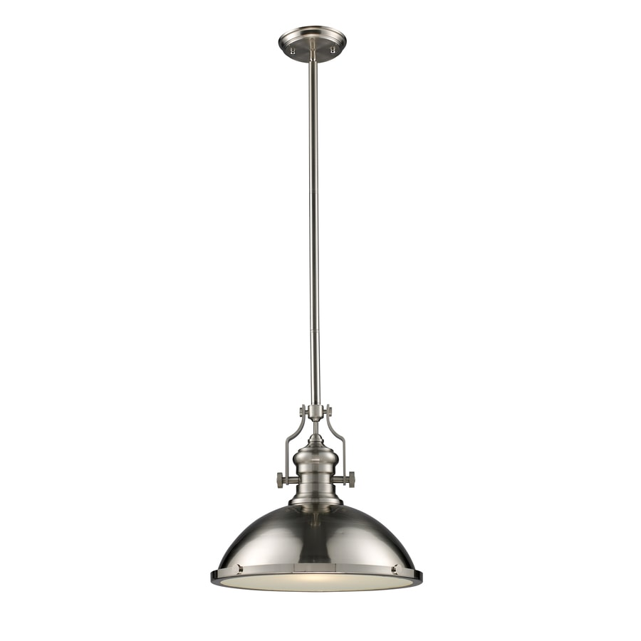 Westmore Lighting Chiserley 17-in Satin Nickel Industrial Single Dome Pendant