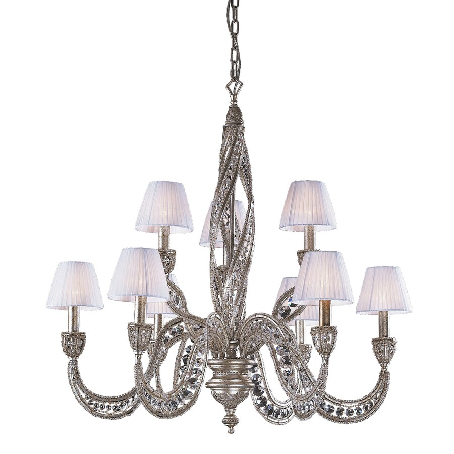 Westmore Lighting Fremont 34-in 9-Light Sunset Silver Crystal Shaded Chandelier