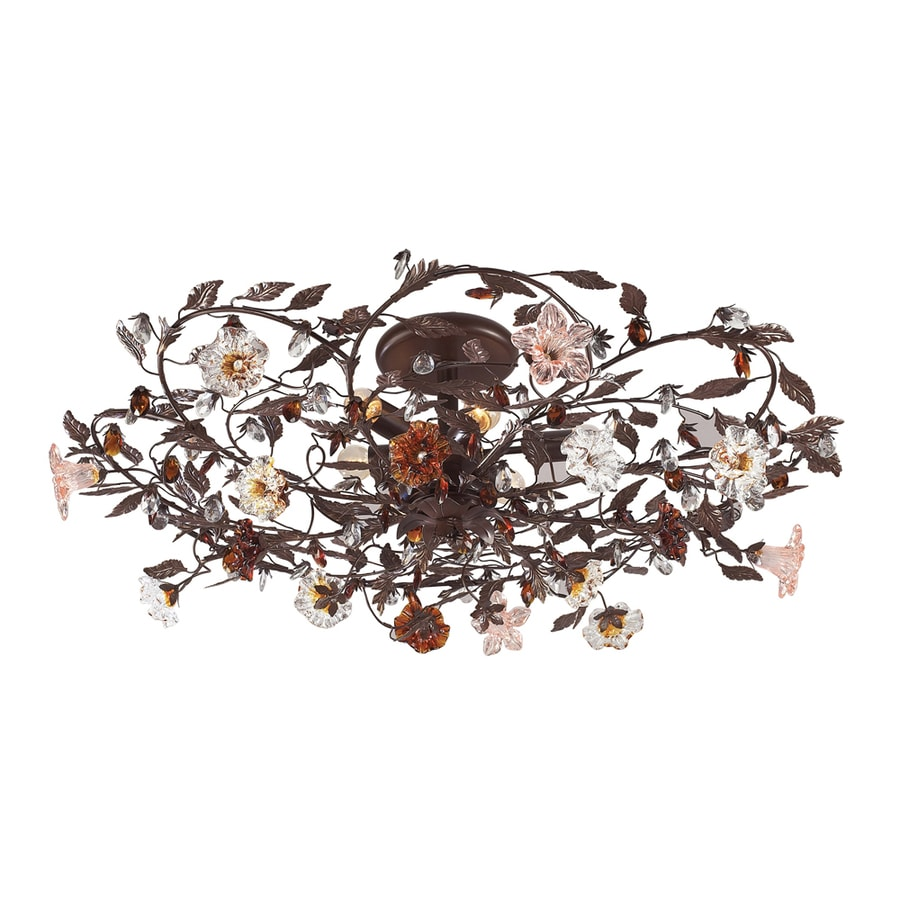 Westmore Lighting Florette 38-in W Deep rust No Shades Semi-Flush Mount Light