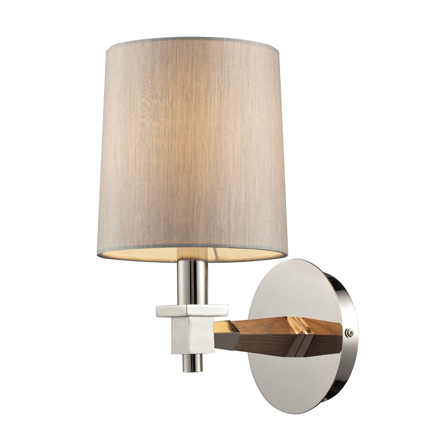 Westmore Lighting Addison 6-in W 1-Light Taupe Wood and Polished Nickel Arm Wall Sconce