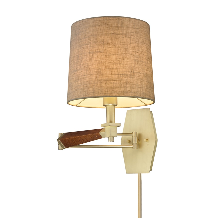 shop westmore lighting 16 in h satin brass swing arm wall mounted lamp with fabric shade at. Black Bedroom Furniture Sets. Home Design Ideas