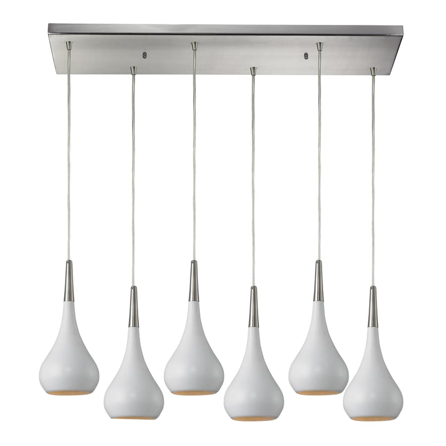 Westmore Lighting Sydney 30-in Satin Nickel and White Mini Teardrop Pendant
