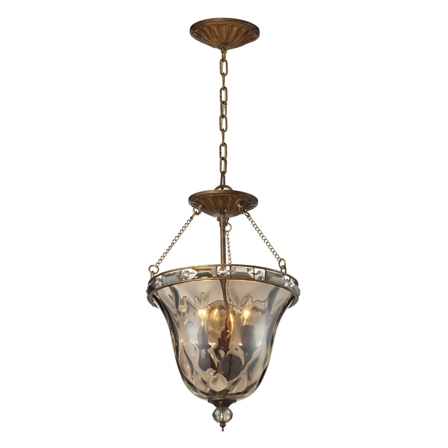 Westmore Lighting Solano 14-in Mocha and Champagne Plated Glass Single Tinted Glass Pendant