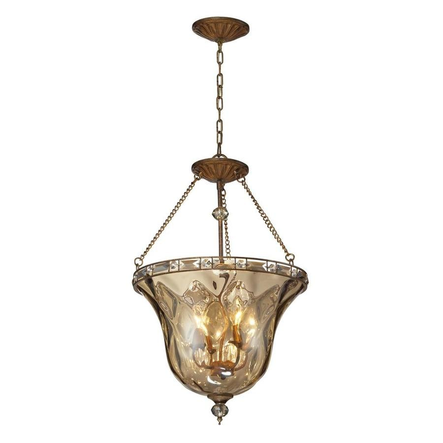 Westmore Lighting Solano 19-in Mocha and Champagne Plated Glass Single Pendant
