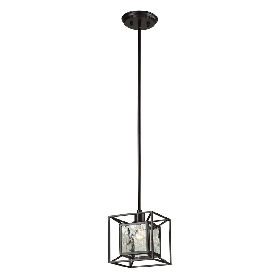 Westmore Lighting Riemann 7-in Oiled Bronze and Clear Water Glass Single Clear Glass Geometric Pendant