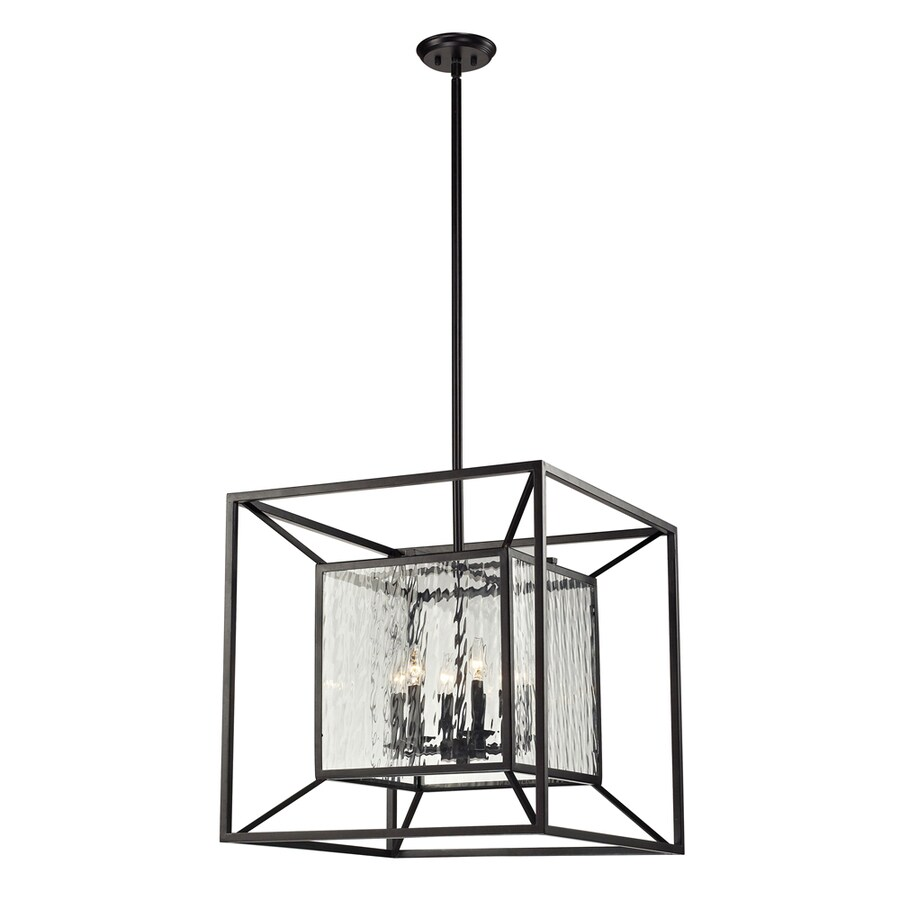 Westmore Lighting Riemann 24-in Oiled Bronze and Clear Water Glass Single Clear Glass Geometric Pendant