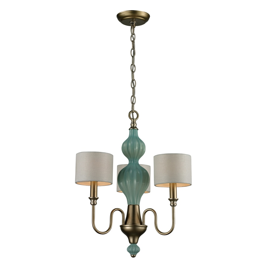 Westmore Lighting Chisago 18-in 3-Light Aged Silver and Seafoam Ceramic Shaded Chandelier