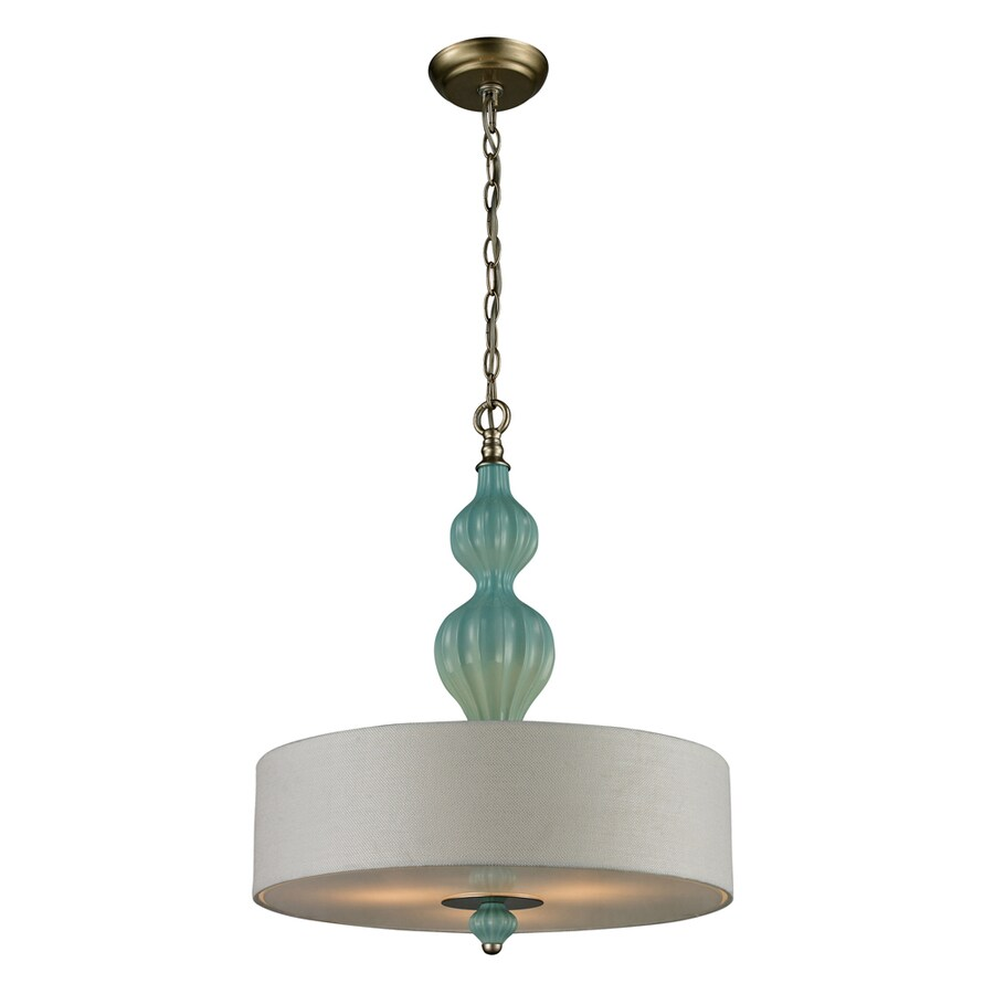 Westmore Lighting Chisago 18-in Aged Silver and Seafoam Ceramic with White Textured Linen Single Pendant
