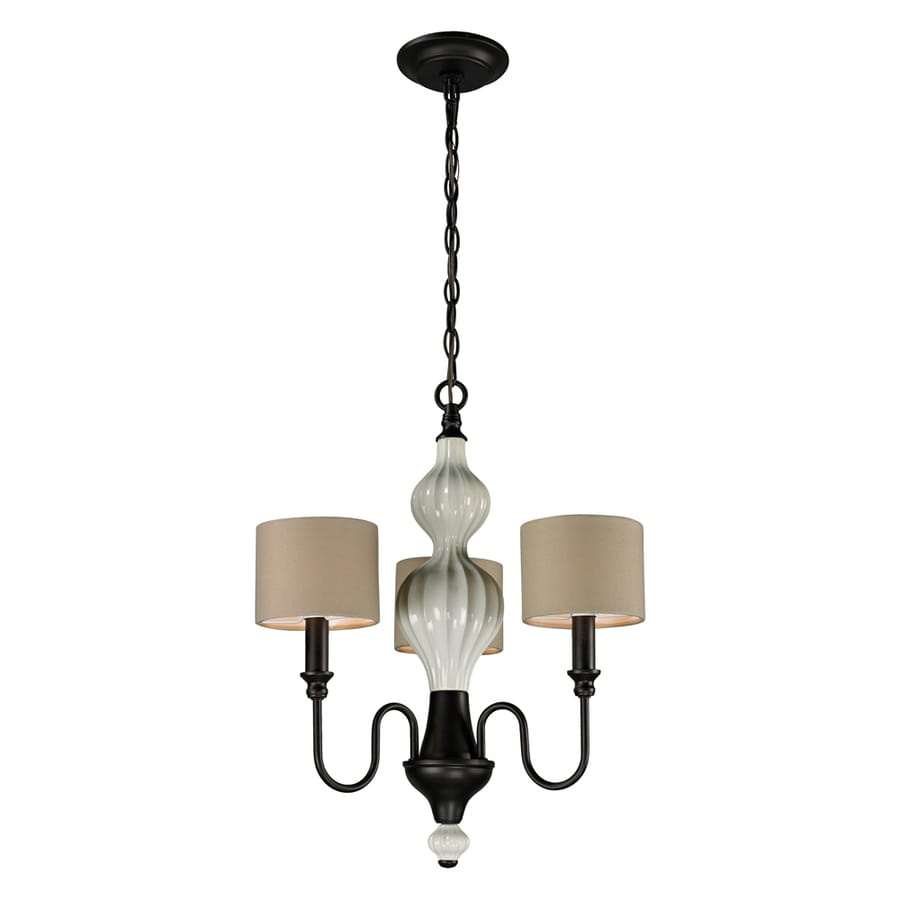 Westmore Lighting Chisago 18-in 3-Light Aged bronze and cream ceramic Shaded Chandelier