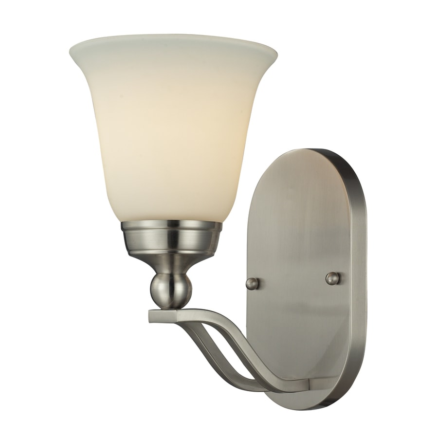 Westmore Lighting Wexford 6-in W 1-Light Brushed Nickel and Opal White Glass Arm Hardwired Wall Sconce
