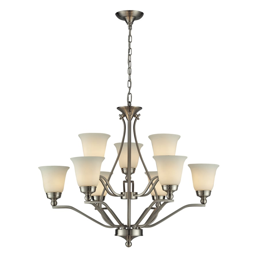 Westmore Lighting Wexford 33-in 9-Light Brushed Nickel and Opal White Glass Shaded Chandelier