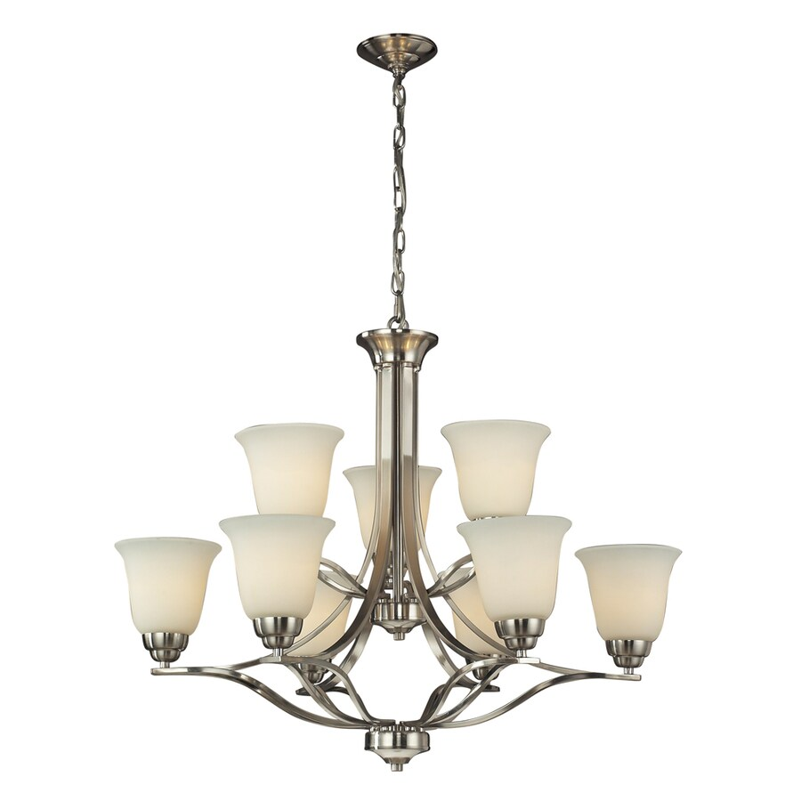 Westmore Lighting Longford 32-in 9-Light Brushed Nickel and Opal White Glass Shaded Chandelier
