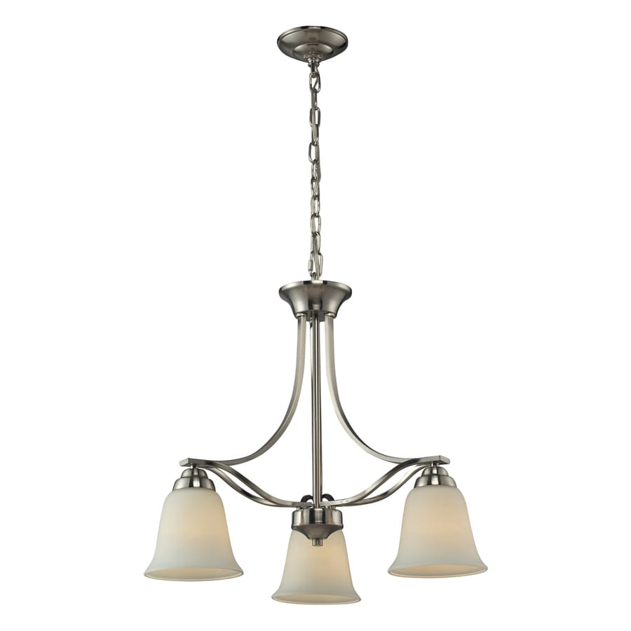 Westmore Lighting Longford 22-in 3-Light Brushed Nickel and Opal White Glass Shaded Chandelier