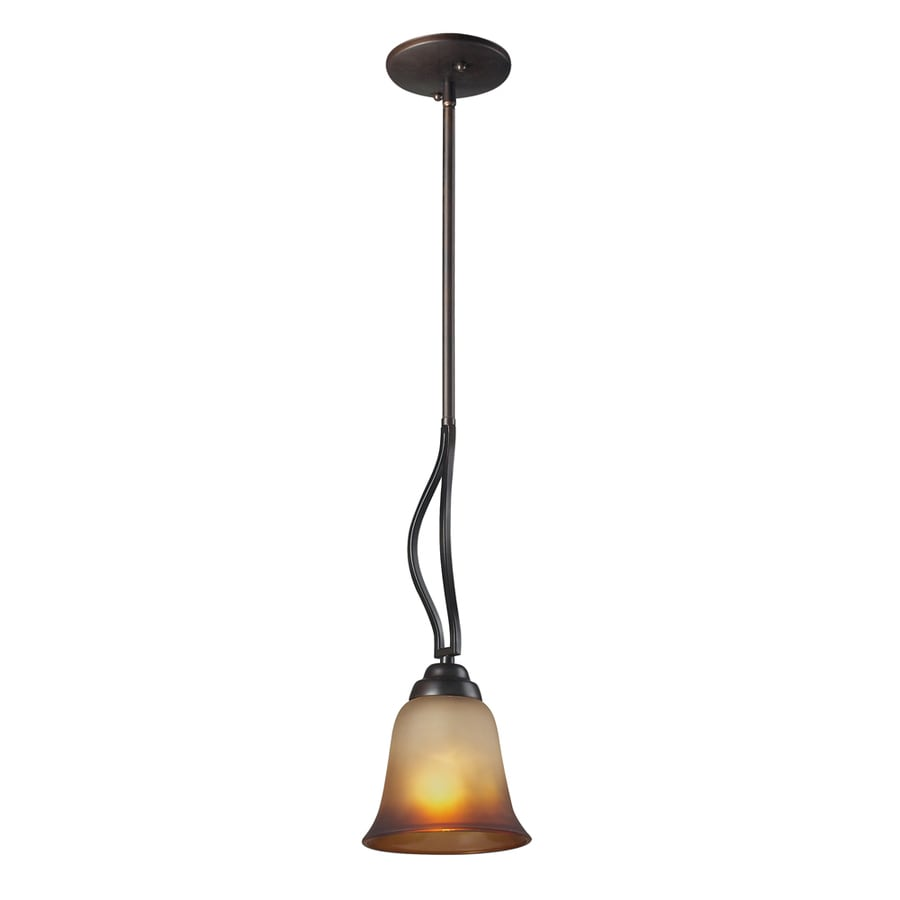 Westmore Lighting Longford 6-in Aged Bronze with Antique Amber Glass Mini Tinted Glass Pendant