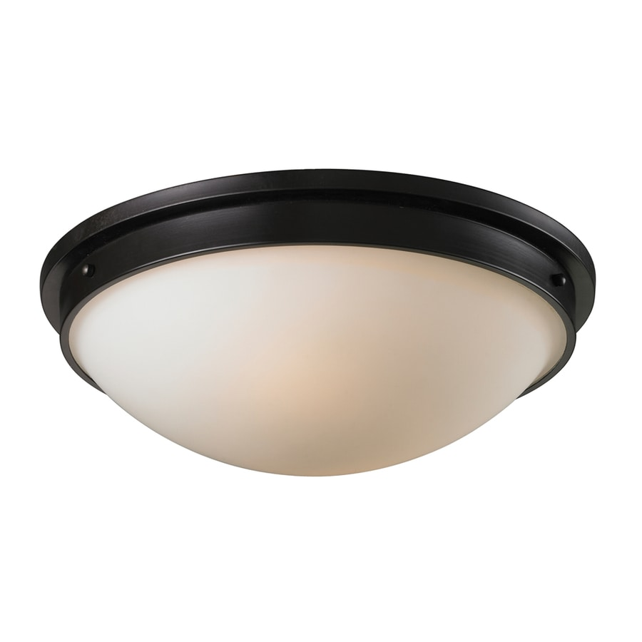 Westmore Lighting Wexford 16-in W Oiled Bronze and Opal White Glass LED Flush Mount Light