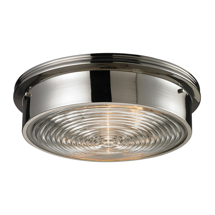 Westmore Lighting Achouffe 15-in W Polished Nickel and Clear Ribbed Glass Standard Flush Mount Light