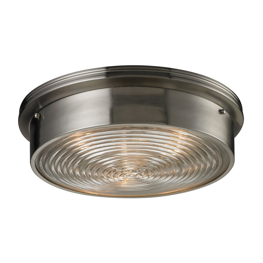 Westmore Lighting Achouffe 15-in W Brushed Nickel and Clear Ribbed Glass Flush Mount Light
