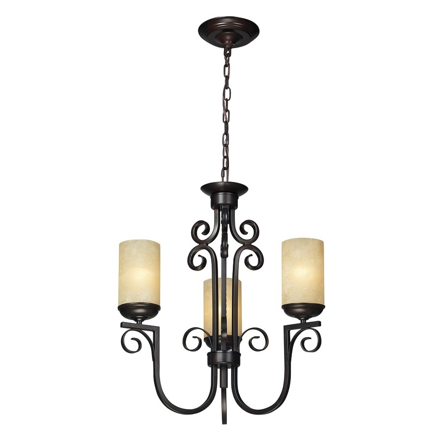 Westmore Lighting La Brea 24-in 6-Light Aged Bronze and Amber Scavo Glass Tinted Glass Shaded Chandelier