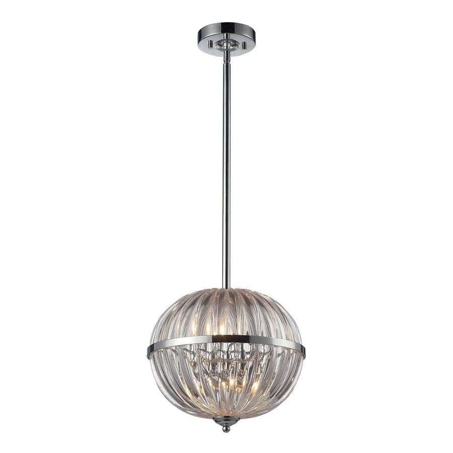 Westmore Lighting Elbrus 12-in Polished Chrome and Clear Crystal Single Crystal Globe Pendant
