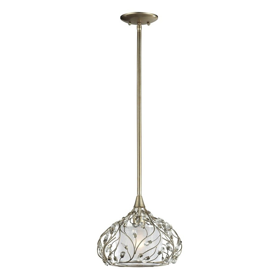 Westmore Lighting Belgravia 12-in Aged Silver with Sheer Organza and Crystal Accents Crystal Mini Drum Pendant