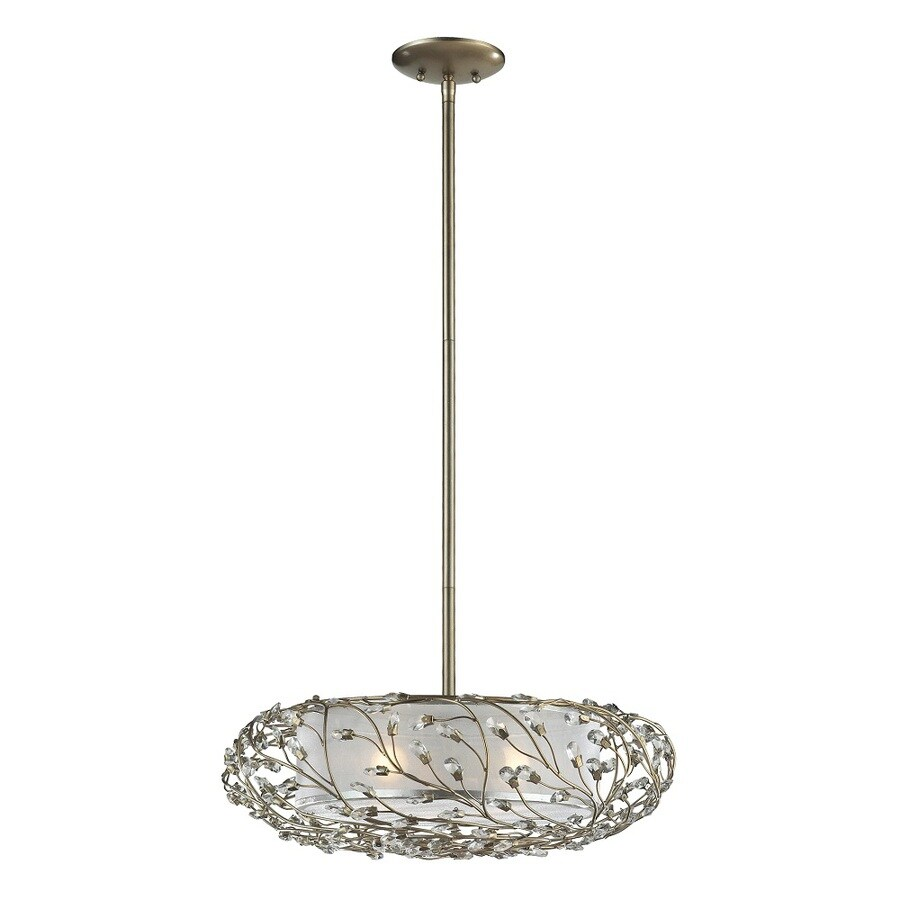 Westmore Lighting Belgravia 21-in Aged Silver with Sheer Organza and Crystal Accents Crystal Mini Drum Pendant