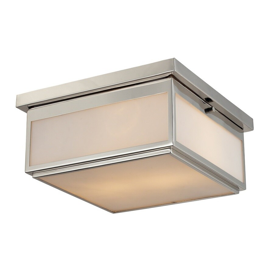Westmore Lighting Shetland 13-in W Polished Nickel and Opal White Glass Flush Mount Light