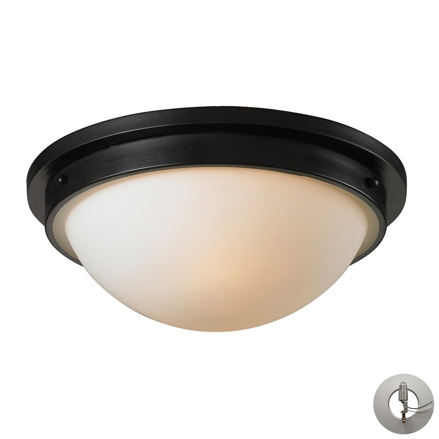 Westmore Lighting Brynford 13-in W Oiled bronze and opal white glass Flush Mount Light