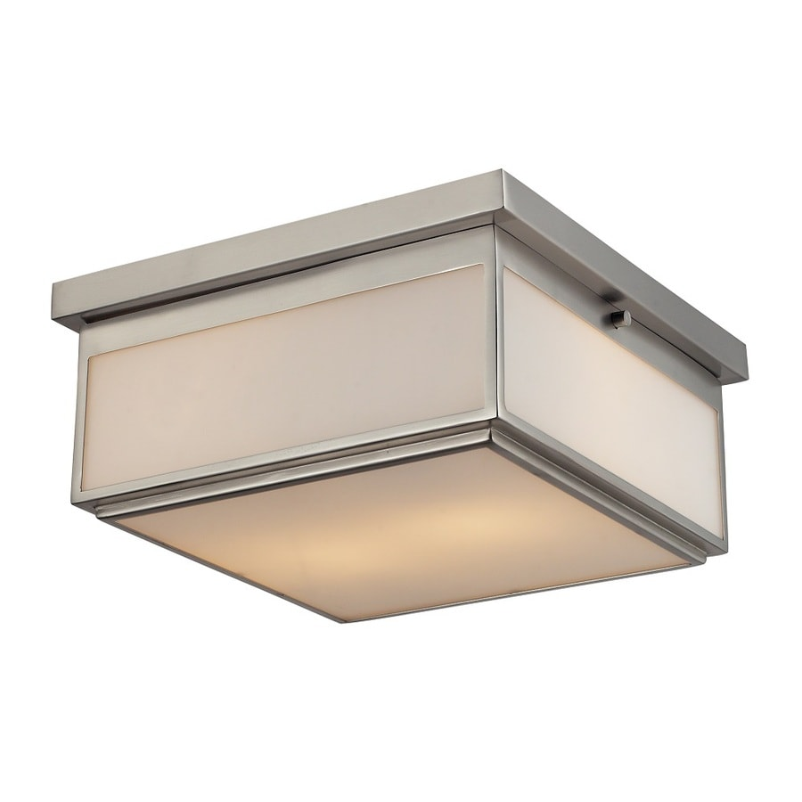 Westmore Lighting Shetland 13-in W Brushed nickel and opal white glass Flush Mount Light