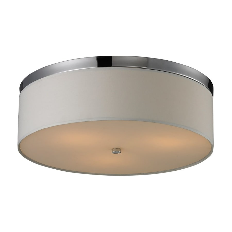 Westmore Lighting Billister 17-in W Polished Chrome and Frosted Glass Flush Mount Light