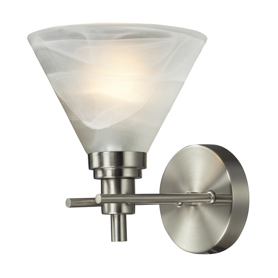 Westmore Lighting Coshocton 1-Light 9-in Brushed Nickel and White Marbleized Glass Cone Vanity Light