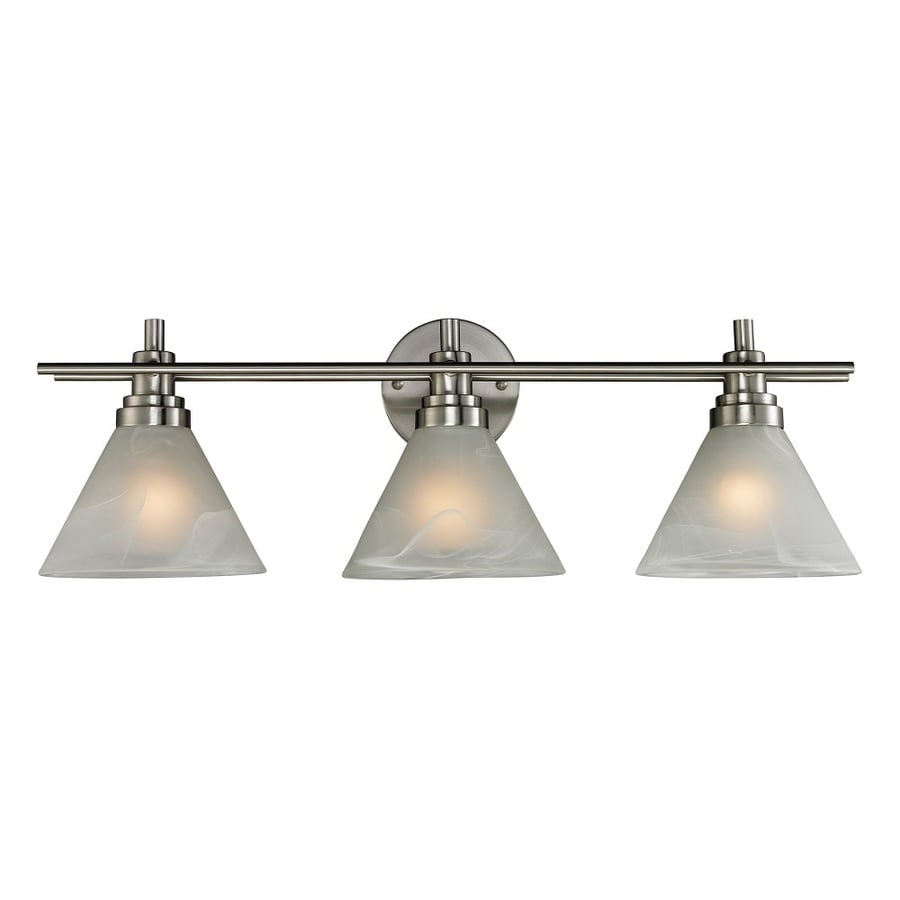 Westmore Lighting Coshocton 3-Light 9-in Brushed Nickel and White Marbleized Glass Cone Vanity Light
