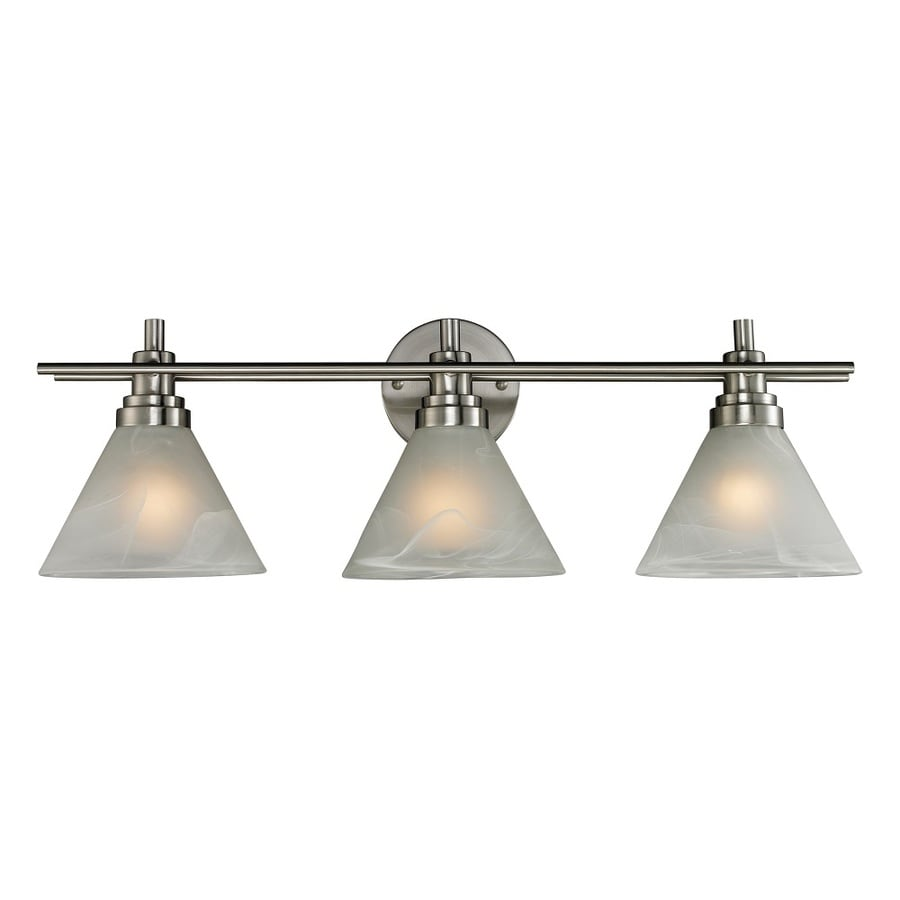 Westmore Lighting Coshocton 3-Light 9-in Brushed Nickel and White Marbleized Glass Cone LED Vanity Light
