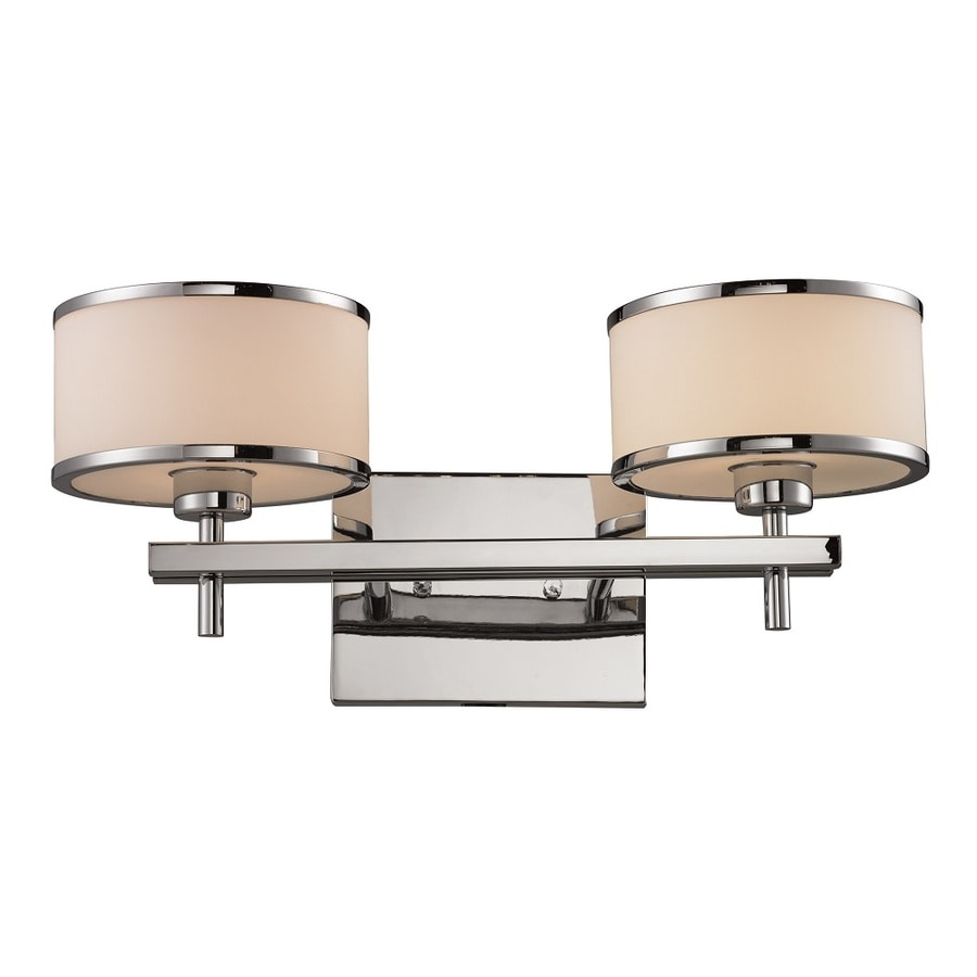 Westmore Lighting Lufton 2-Light 8-in Polished chrome with white blown glass Drum Vanity Light