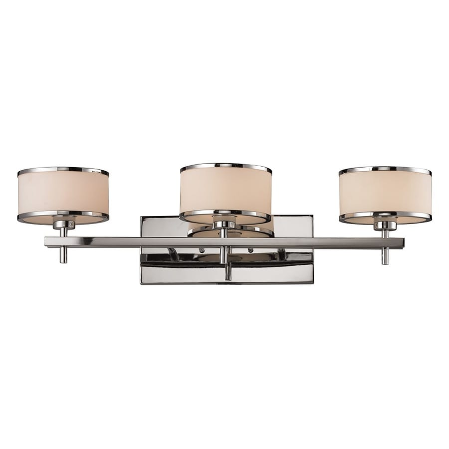 Westmore Lighting Lufton 3-Light 8-in Polished Chrome with White Blown Glass Drum Vanity Light