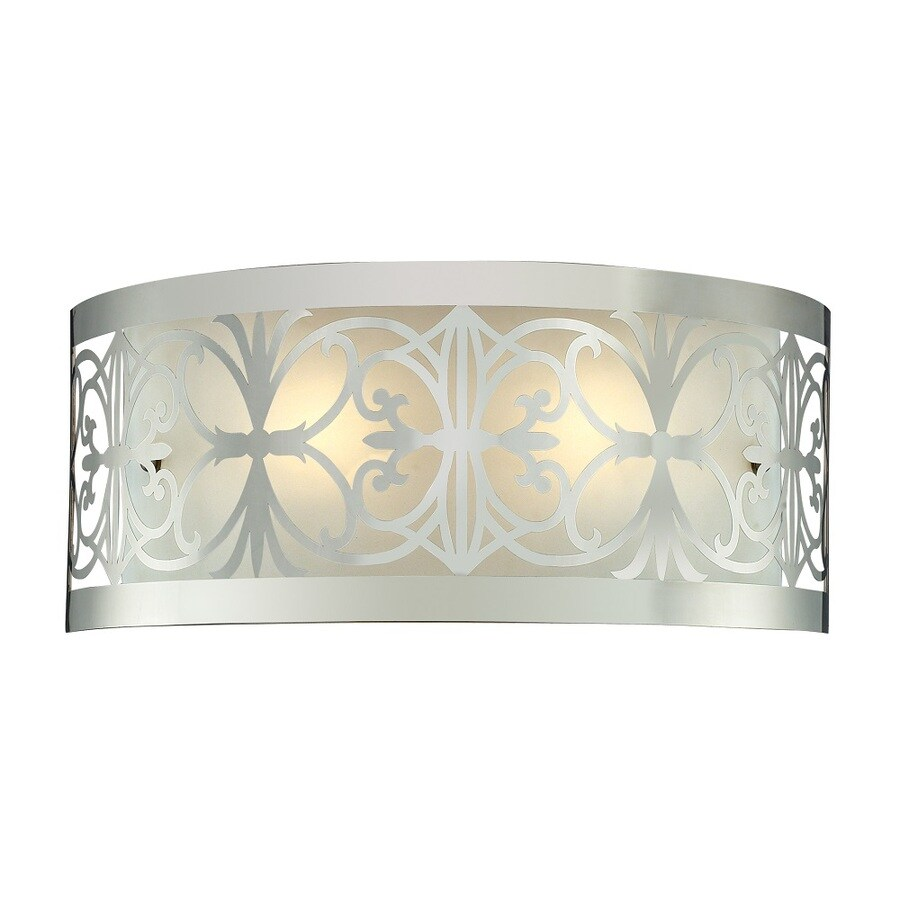 Westmore Lighting Lowell 2-Light 7-in Polished Chrome and Frosted Glass Vanity Light