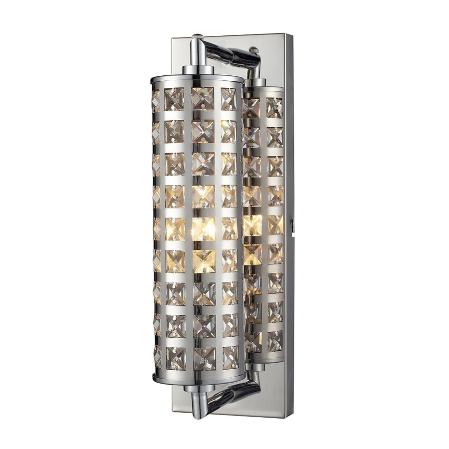 Westmore Lighting Gladwin 1-Light Polished Chrome and Square Crystal Cylinder Vanity Light