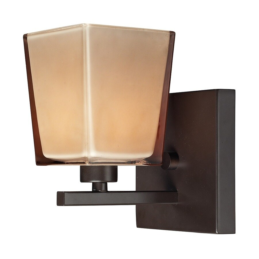 Westmore Lighting Wicomico 1-Light 7-in Oiled Bronze and Tan Glass Vanity Light