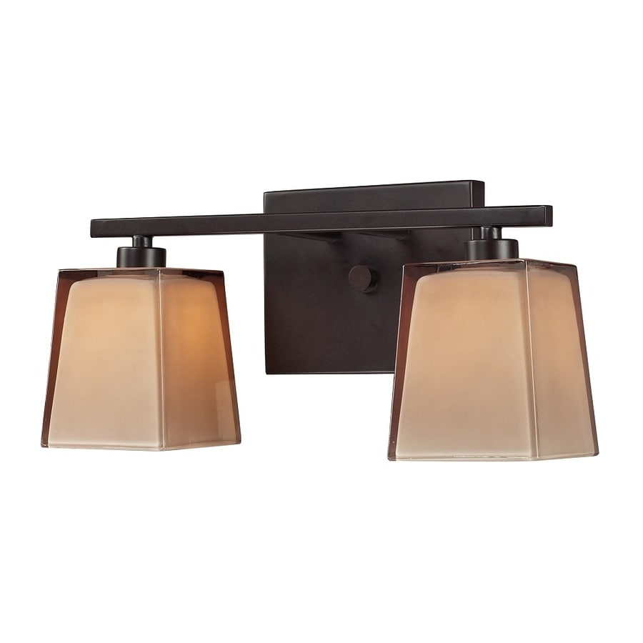 Westmore Lighting Wicomico 2-Light 7-in Oiled Bronze and Tan Glass Vanity Light